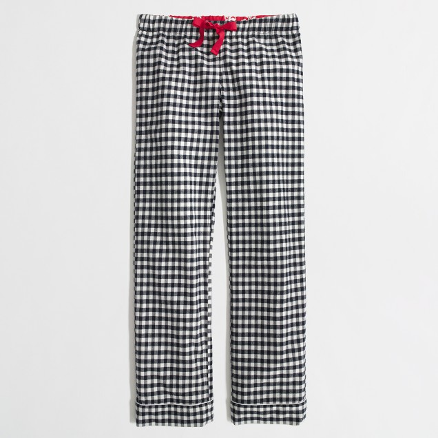 Factory flannel pajama pant in navy gingham