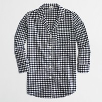 Factory flannel pajama shirt in navy gingham