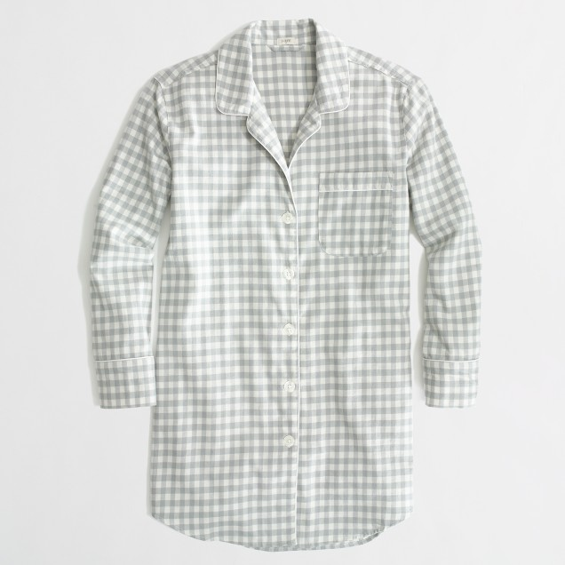 Factory flannel pajama shirt in grey gingham