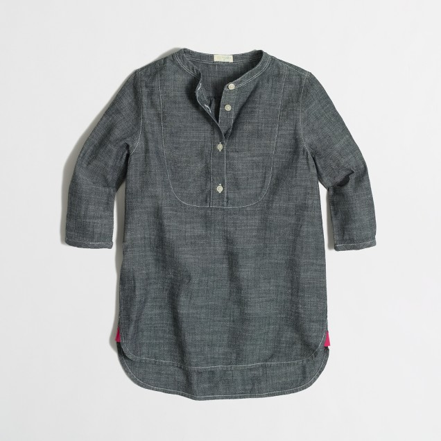 Girls' chambray bib tunic