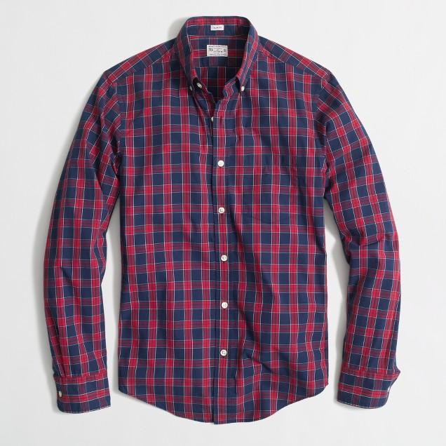 Factory slim washed shirt in blue tartan