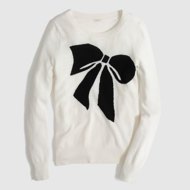 Factory warmspun intarsia big bow sweater