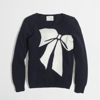 Factory girls' warmspun intarsia bow sweater