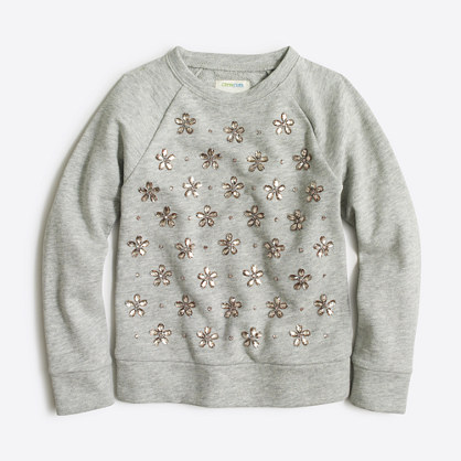 Girls' jewel-cluster sweatshirt