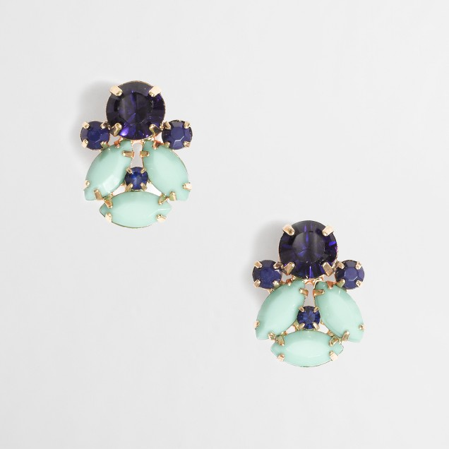 Factory stone cluster earrings