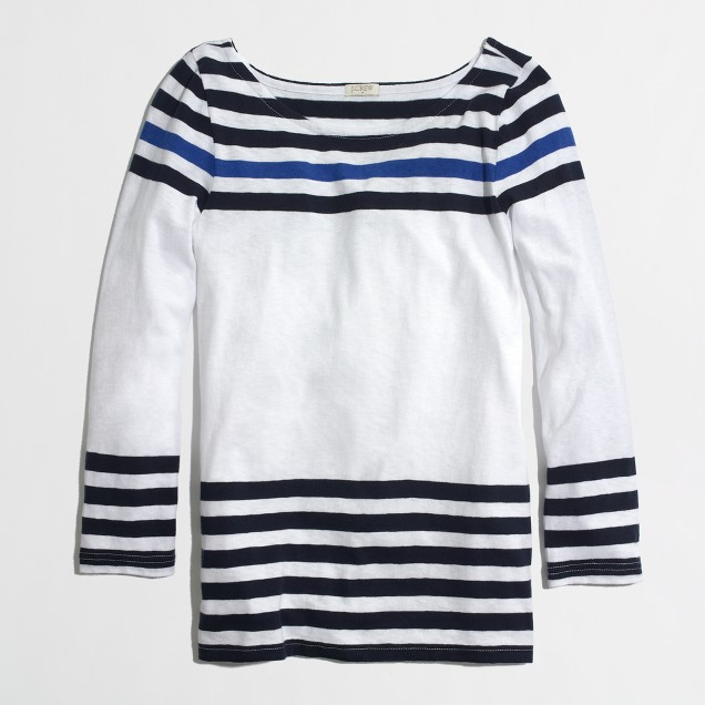 Factory contrast-stripe boatneck tee