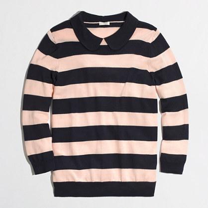 Factory trompe l'oeil stripe collar sweater