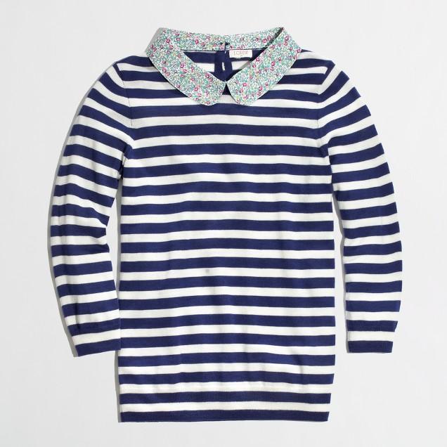 Factory trompe l'oeil floral collar sweater