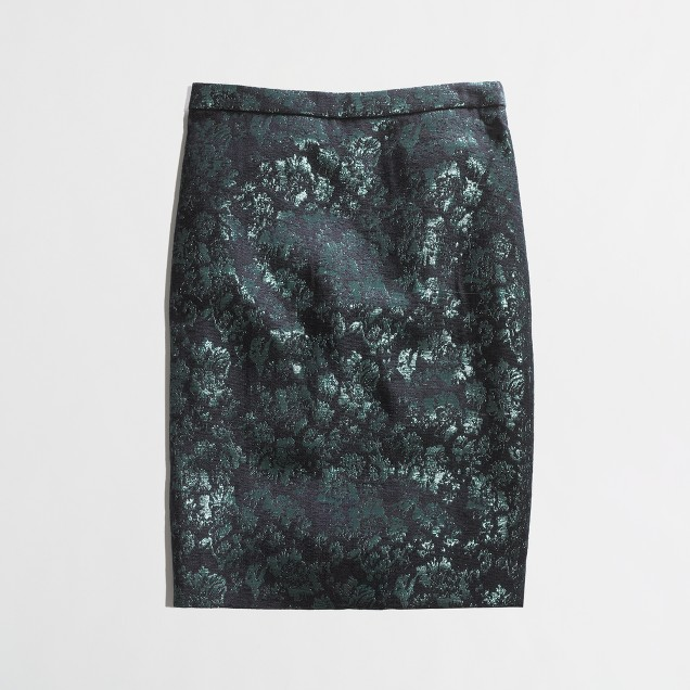 Factory pencil skirt in floral brocade