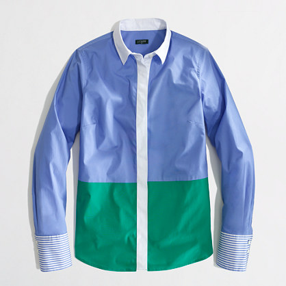 Factory stretch classic button-down shirt in colorblock