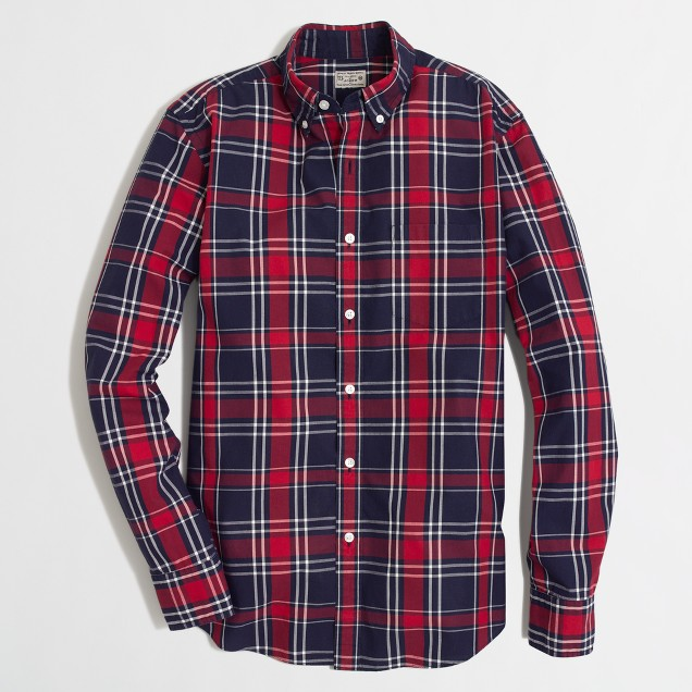 Factory washed shirt in red tartan