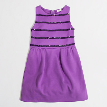 Factory girls' sequin-stripe stretch dress