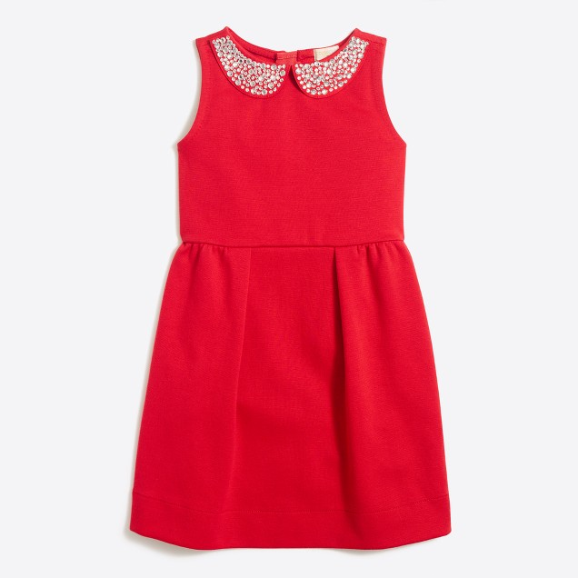 Girls' jeweled-collar ponte dress