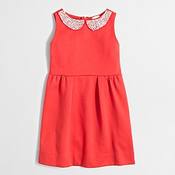 Girls' jeweled-collar ponte dress