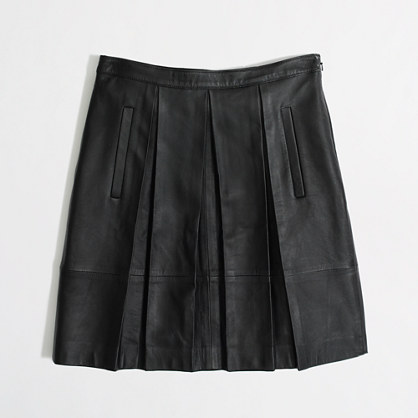 Factory pleated leather skirt