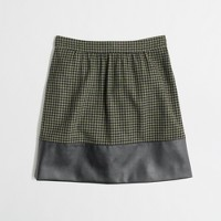 Factory leather-trim houndstooth skirt