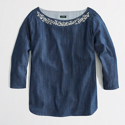 Factory jeweled chambray boatneck top