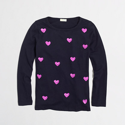 Factory girls' long-sleeve sequin hearts keepsake tee
