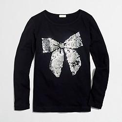 Girls' long-sleeve sequin bow keepsake T-shirt