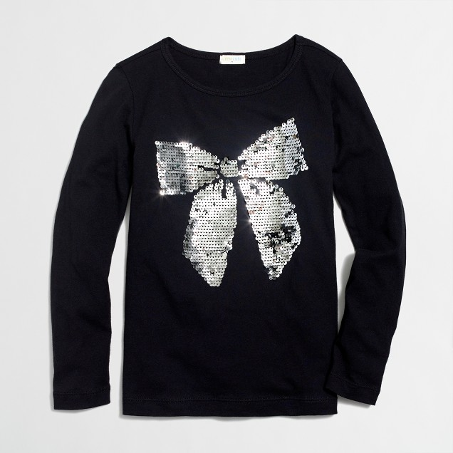 Girls' long-sleeve sequin bow keepsake T-shirt