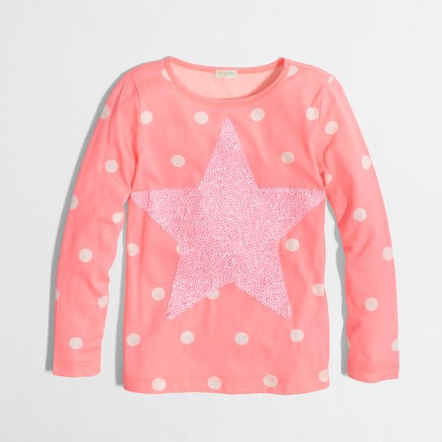 Factory girls' long-sleeve dip-dye big star keepsake tee