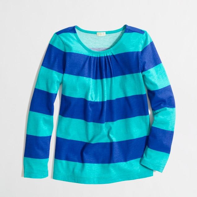 Factory girls' long-sleeve pleated tee in wide stripe