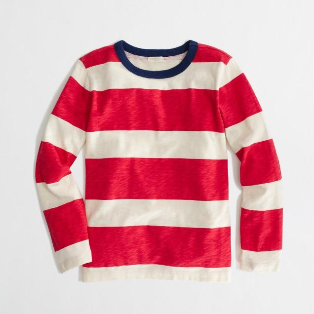 Factory boys' long-sleeve wide-stripe tee