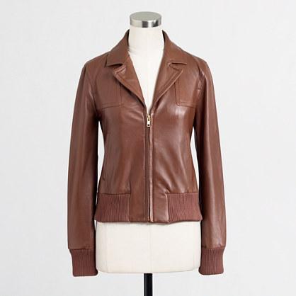 Factory leather bomber jacket