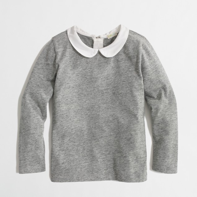 Factory girls' long-sleeve Peter Pan collar tee