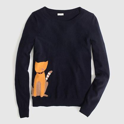 Factory warmspun intarsia cat sweater