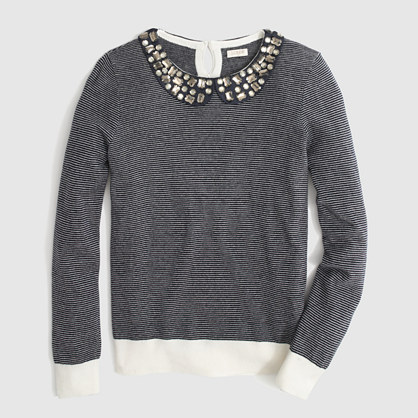 Factory stripe jeweled Peter Pan collar sweater