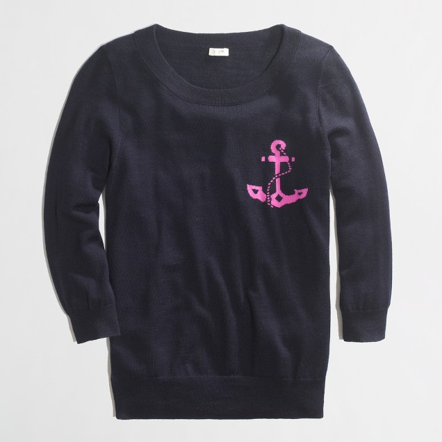 Factory merino intarsia anchor sweater