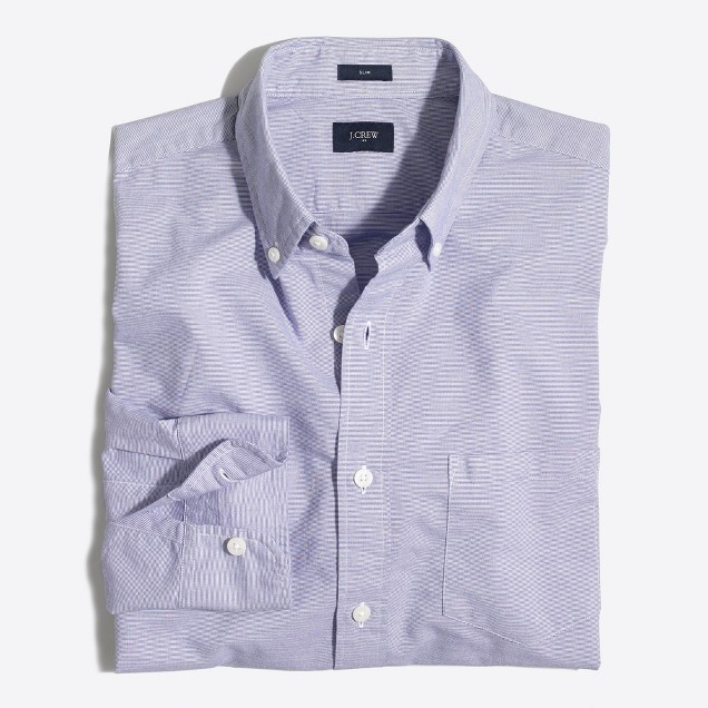 Tall slim washed shirt in horizontal stripe