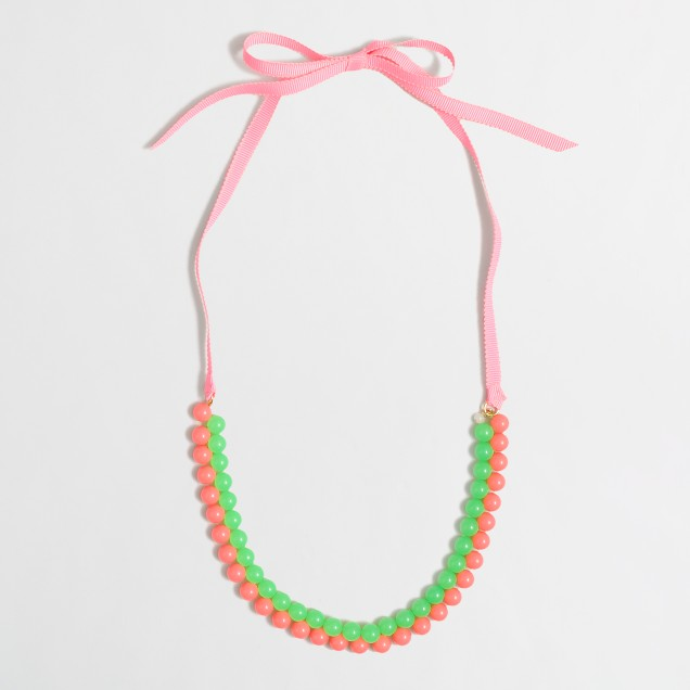 Factory girls' beaded ribbon necklace