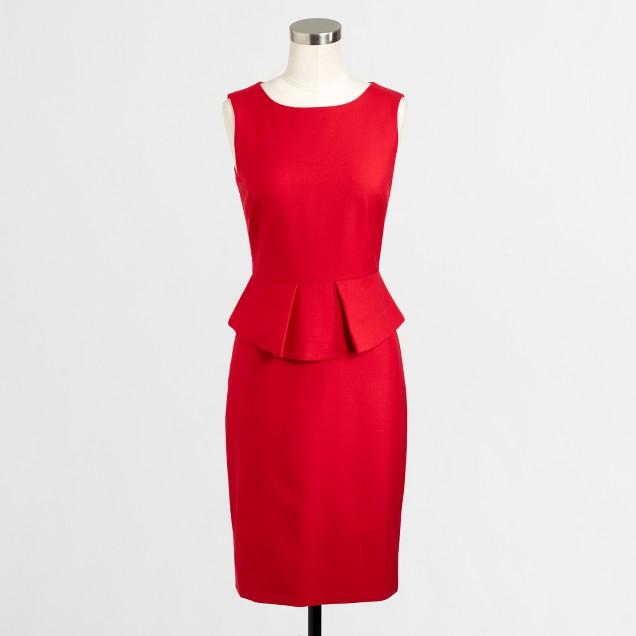 Factory stretch wool peplum dress