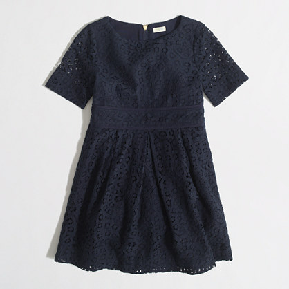 Factory girls' short-sleeve pleated lace dress