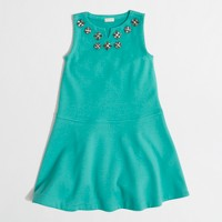 Factory girls' jewel-flower stretch dress