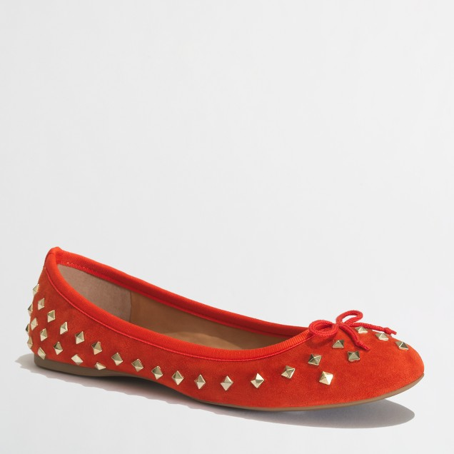 Factory classic suede studded ballet flats
