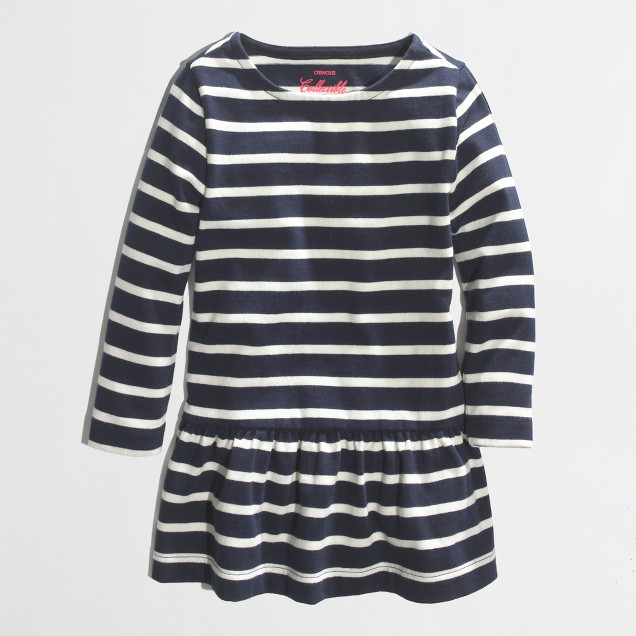 Factory girls' peplum tee in navy stripe