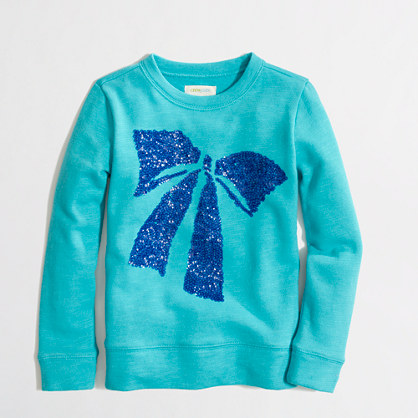 Factory girls' sequin-bow sweatshirt