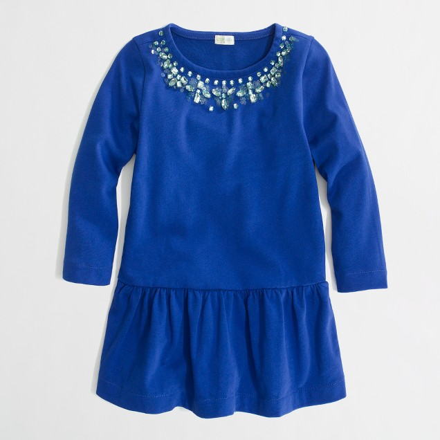 Factory girls' long-sleeve jeweled peplum top
