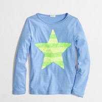 Factory girls' long-sleeve sequin-stripe star keepsake tee