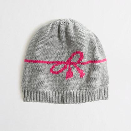 Factory girls' intarsia bow hat