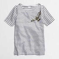 Factory stripe sequin bird graphic tee