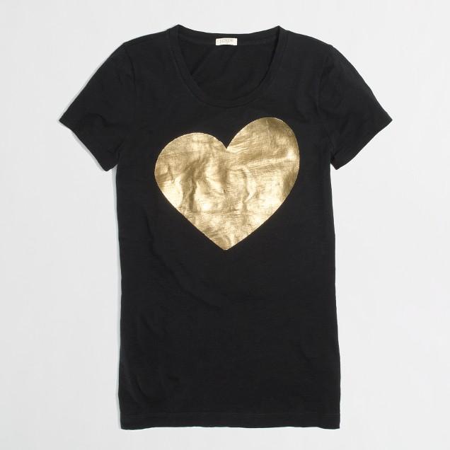 Factory metallic heart tee