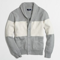Colorblock shawl-collar cotton cardigan sweater