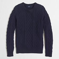 Factory cableknit cotton crewneck sweater