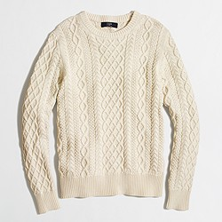 Tall fisherman cable crewneck sweater