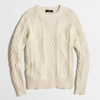 Slim fisherman cable crewneck sweater