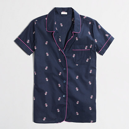 Factory printed chambray pajama shirt